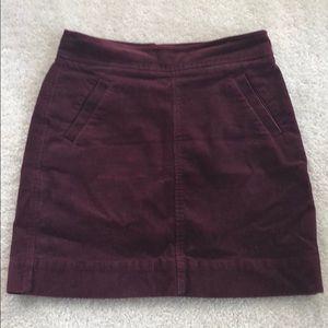 LOFT burgundy wine corduroy skirt 00